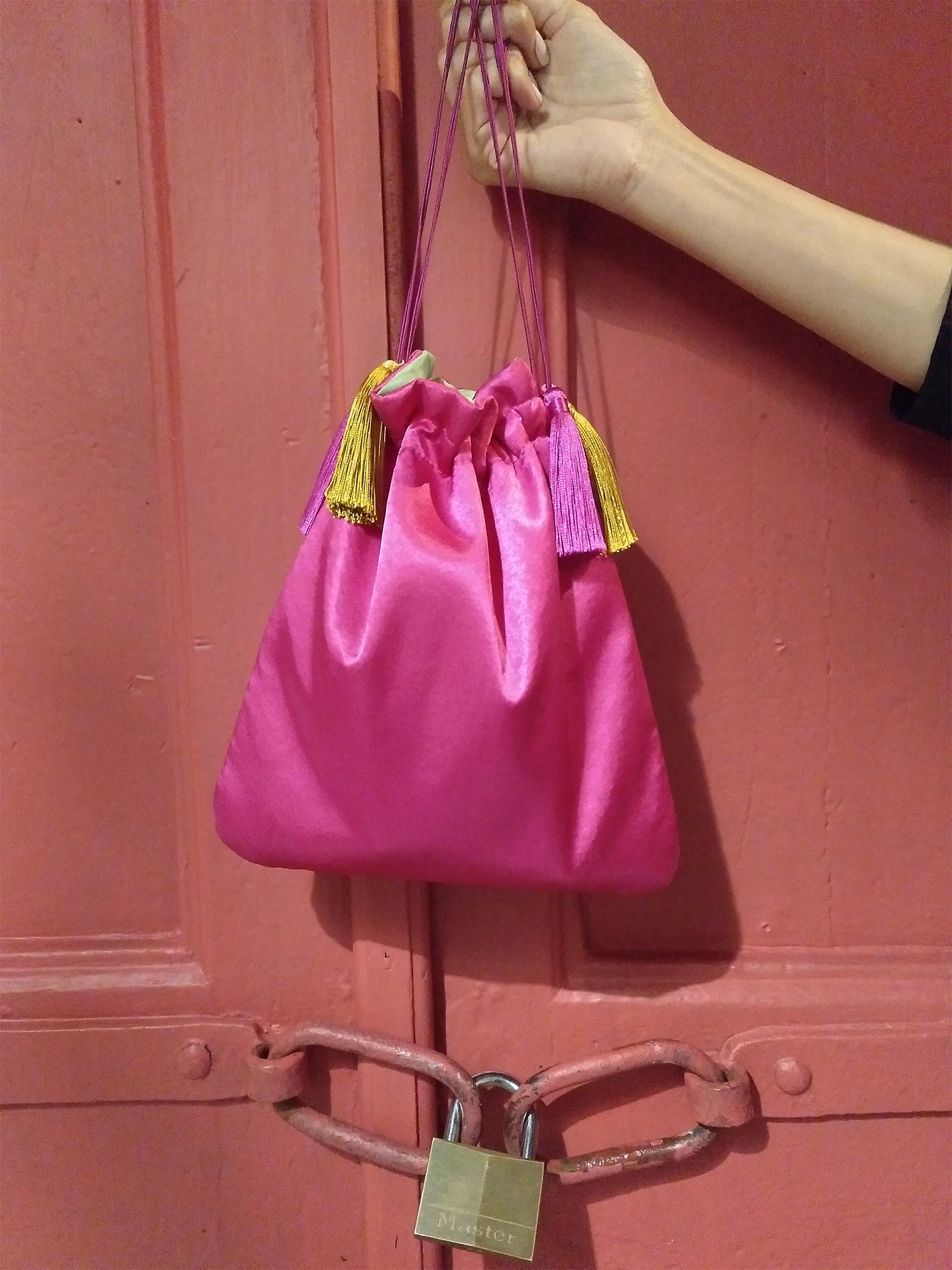 bolso de fiesta rosa verde