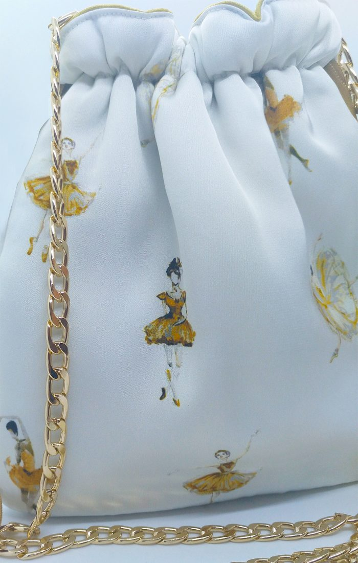 bolso oro blanco cadena