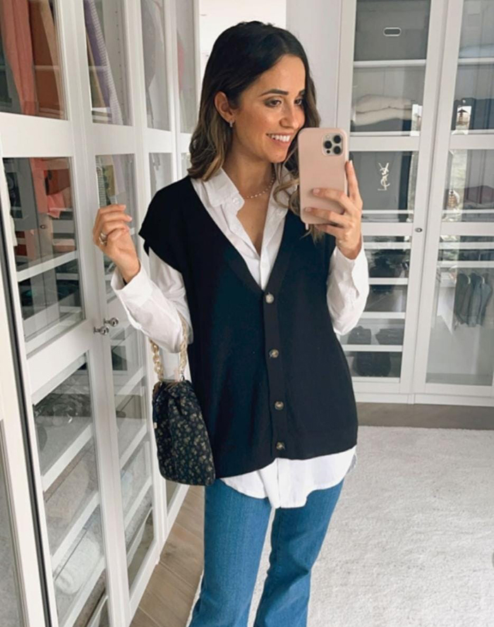 outfit veronica diaz moda just coco bolso almost blue